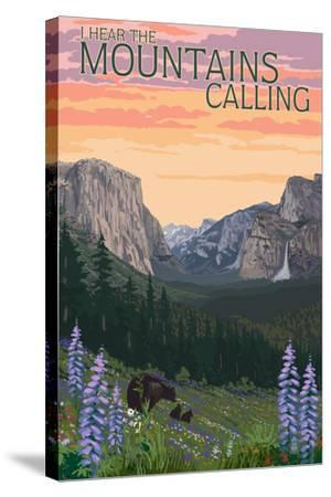The Mountains Calling - National Park WPA Sentiment-Lantern Press-Stretched Canvas Print