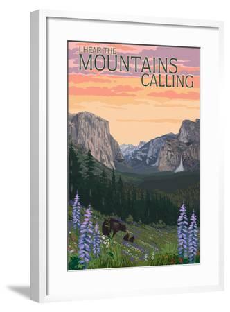 The Mountains Calling - National Park WPA Sentiment-Lantern Press-Framed Art Print