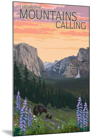 The Mountains Calling - National Park WPA Sentiment-Lantern Press-Mounted Art Print