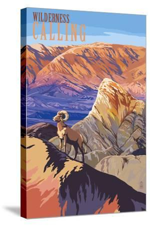 Wilderness Calling - National Park WPA Sentiment-Lantern Press-Stretched Canvas Print