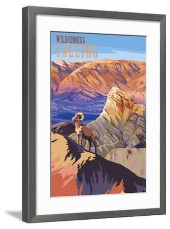 Wilderness Calling - National Park WPA Sentiment-Lantern Press-Framed Art Print