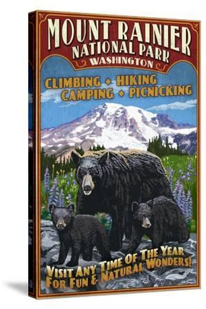 Mount Rainier National Park - Bear Family Vintage Sign-Lantern Press-Stretched Canvas Print