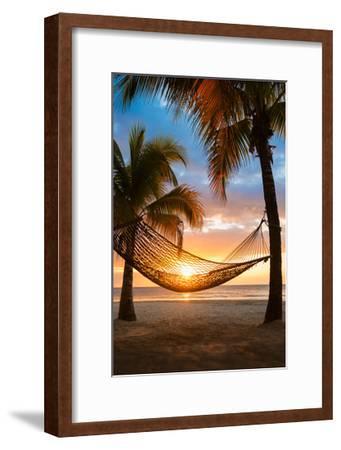 Hammock and Sunset-Lantern Press-Framed Art Print