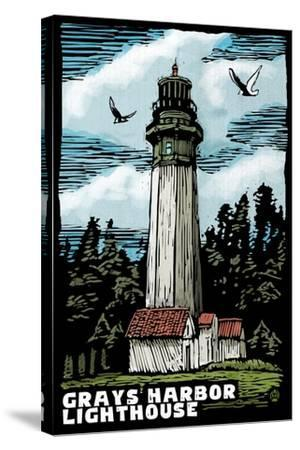 Westport, Washington - Grays Harbor Lighthouse Scratchboard-Lantern Press-Stretched Canvas Print