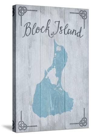 Block Island, Rhode Island - Distressed Sign-Lantern Press-Stretched Canvas Print