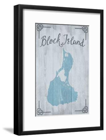 Block Island, Rhode Island - Distressed Sign-Lantern Press-Framed Art Print
