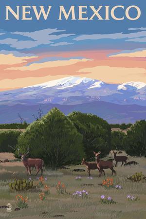 New Mexico - Mt.Taylor and Deer-Lantern Press-Framed Art Print