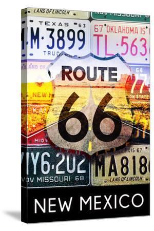 New Mexico - Route 66 License Plates-Lantern Press-Stretched Canvas Print