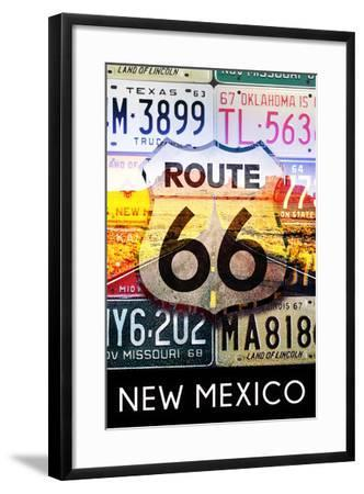 New Mexico - Route 66 License Plates-Lantern Press-Framed Art Print