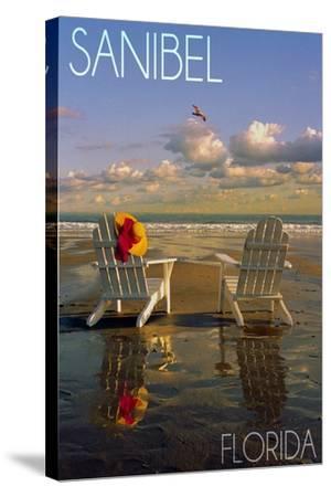 Sanibel, Florida - Adirondack Chairs on the Beach-Lantern Press-Stretched Canvas Print