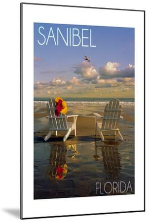 Sanibel, Florida - Adirondack Chairs on the Beach-Lantern Press-Mounted Art Print