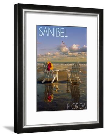Sanibel, Florida - Adirondack Chairs on the Beach-Lantern Press-Framed Art Print