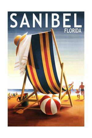 Sanibel, Florida - Beach Chair and Ball-Lantern Press-Framed Art Print