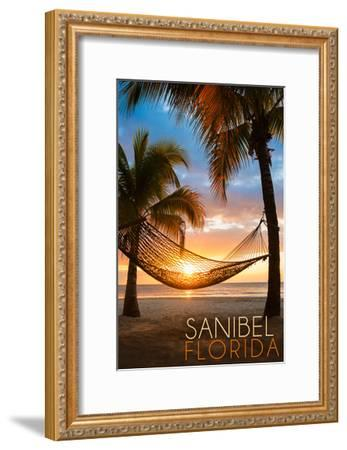 Sanibel, Florida - Hammock and Sunset-Lantern Press-Framed Art Print