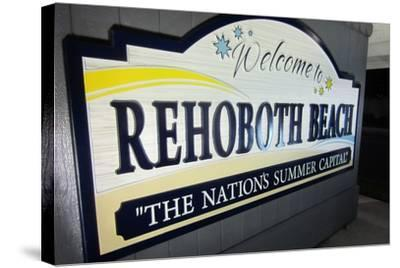 Rehoboth Beach, Delaware - Welcome Sign-Lantern Press-Stretched Canvas Print