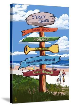 Jersey Shore - Signpost Destinations-Lantern Press-Stretched Canvas Print