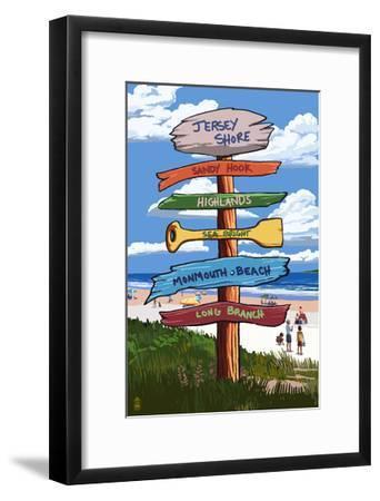 Jersey Shore - Signpost Destinations-Lantern Press-Framed Art Print