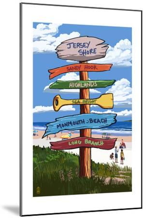 Jersey Shore - Signpost Destinations-Lantern Press-Mounted Art Print
