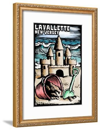 Lavallette, New Jersey - Sandcastle Scratchboard-Lantern Press-Framed Art Print