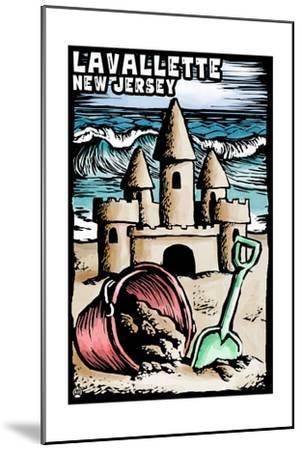 Lavallette, New Jersey - Sandcastle Scratchboard-Lantern Press-Mounted Art Print