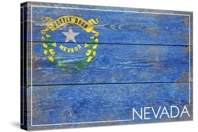 Nevada State Flag - Barnwood Painting-Lantern Press-Stretched Canvas Print