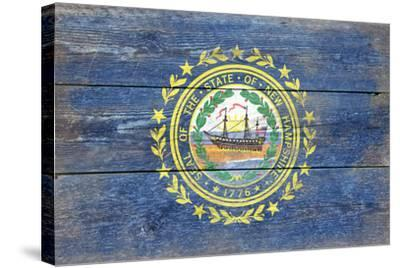 New Hampshire State Flag - Barnwood Painting-Lantern Press-Stretched Canvas Print