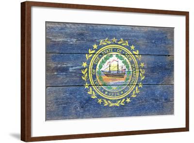 New Hampshire State Flag - Barnwood Painting-Lantern Press-Framed Art Print