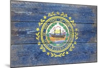New Hampshire State Flag - Barnwood Painting-Lantern Press-Mounted Art Print