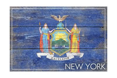 New York State Flag - Barnwood Painting-Lantern Press-Framed Art Print