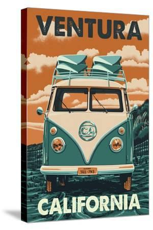 Ventura, California - Letterpress-Lantern Press-Stretched Canvas Print