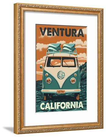 Ventura, California - Letterpress-Lantern Press-Framed Art Print