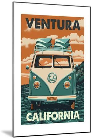 Ventura, California - Letterpress-Lantern Press-Mounted Art Print