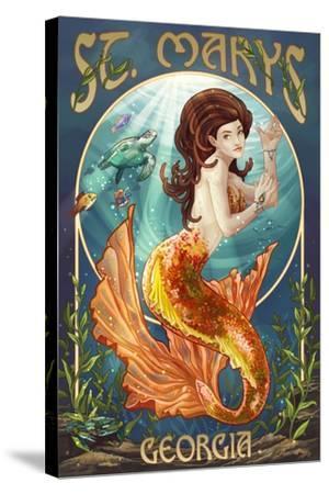 St. Marys, Georgia - Mermaid-Lantern Press-Stretched Canvas Print