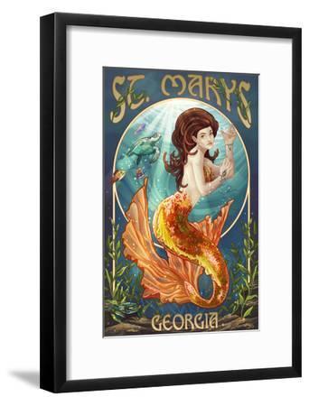 St. Marys, Georgia - Mermaid-Lantern Press-Framed Art Print