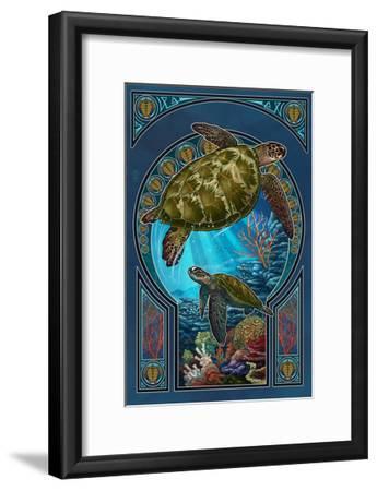 Sea Turtle - Art Nouveau-Lantern Press-Framed Art Print