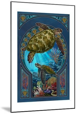 Sea Turtle - Art Nouveau-Lantern Press-Mounted Art Print