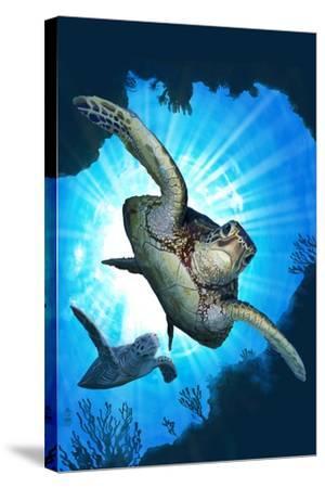 Sea Turtles Diving-Lantern Press-Stretched Canvas Print