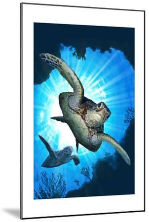 Sea Turtles Diving-Lantern Press-Mounted Art Print