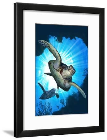 Sea Turtles Diving-Lantern Press-Framed Art Print