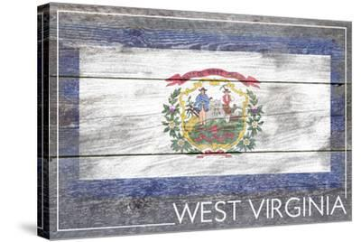 West Virginia State Flag - Barnwood Painting-Lantern Press-Stretched Canvas Print