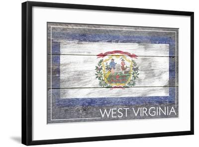 West Virginia State Flag - Barnwood Painting-Lantern Press-Framed Art Print