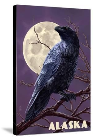 Alaska - Raven and Moon Purple Sky-Lantern Press-Stretched Canvas Print