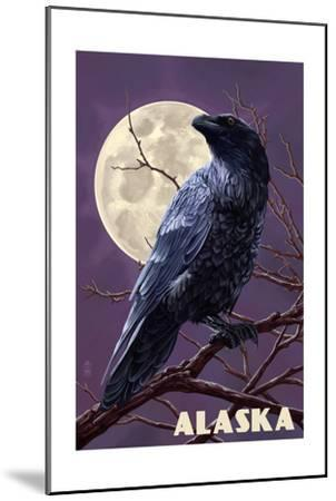 Alaska - Raven and Moon Purple Sky-Lantern Press-Mounted Art Print