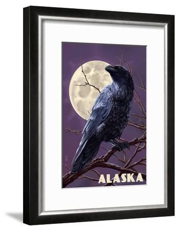 Alaska - Raven and Moon Purple Sky-Lantern Press-Framed Art Print