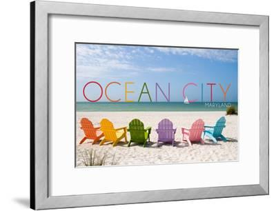 Ocean City, Maryland - Colorful Beach Chairs-Lantern Press-Framed Art Print