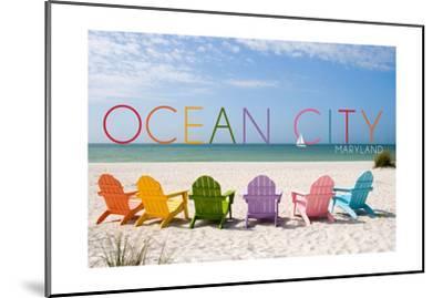 Ocean City, Maryland - Colorful Beach Chairs-Lantern Press-Mounted Art Print
