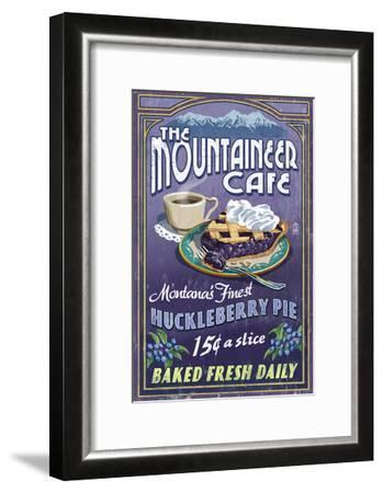 Montana - the Mountaineer Cafe - Huckleberry Pie Vintage Sign-Lantern Press-Framed Art Print