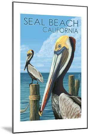 Seal Beach, California - Brown Pelican-Lantern Press-Mounted Art Print