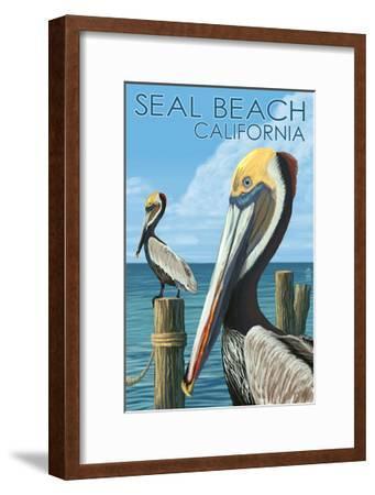 Seal Beach, California - Brown Pelican-Lantern Press-Framed Art Print