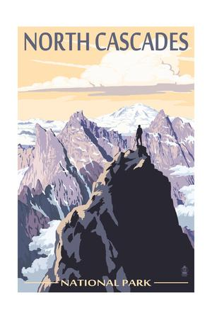 North Cascades National Park, Washington - Mountain Peaks-Lantern Press-Framed Art Print